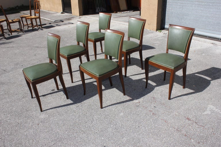 Classic Set of 6 French Art Deco Solid Mahogany Dining Chairs, circa 1940s 4