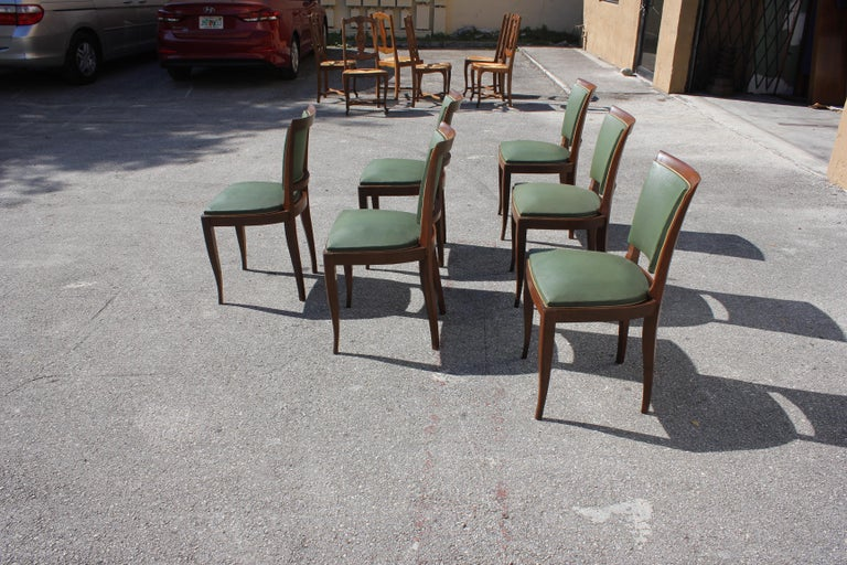 Classic Set of 6 French Art Deco Solid Mahogany Dining Chairs, circa 1940s 5