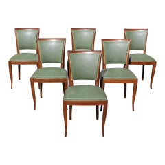 Classic Set of 6 French Art Deco Solid Mahogany Dining Chairs, circa 1940s