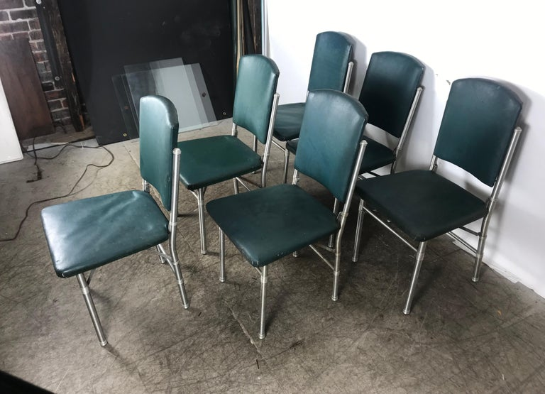 Machine-Made Classic set of 6 Side Dining Chairs by Warren McArthur..Art Deco, Machine Age For Sale