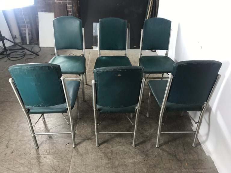 Classic set of 6 Side Dining Chairs by Warren McArthur..Art Deco, Machine Age In Good Condition For Sale In Buffalo, NY
