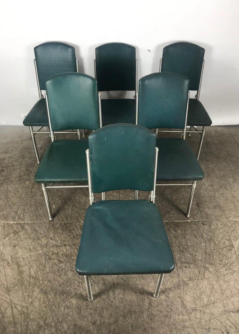 Aluminum Classic set of 6 Side Dining Chairs by Warren McArthur..Art Deco, Machine Age For Sale