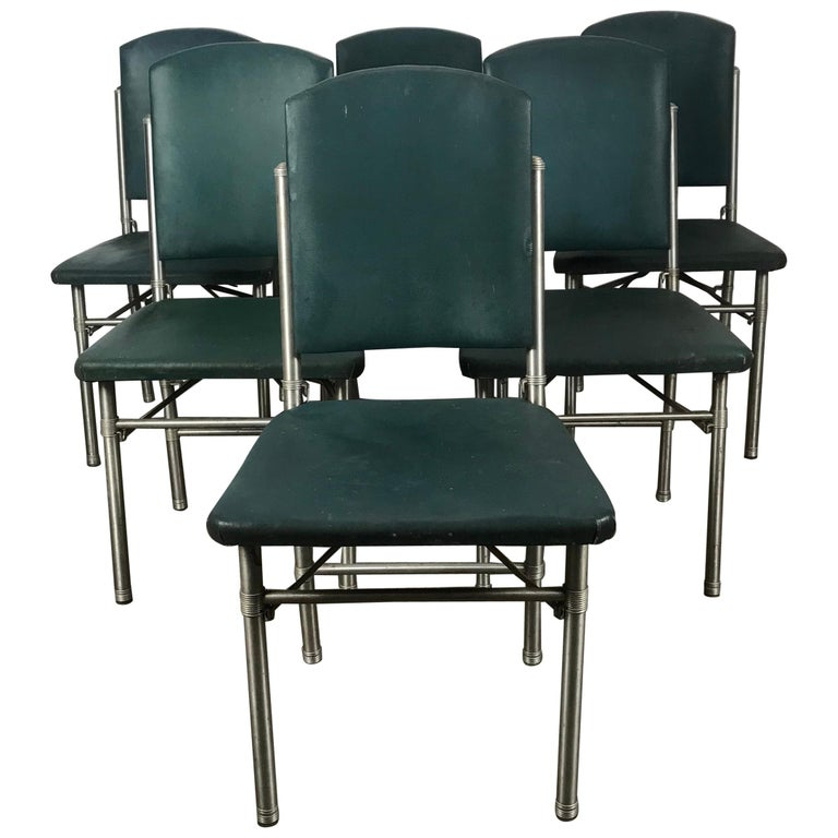 Classic set of 6 Side Dining Chairs by Warren McArthur..Art Deco, Machine Age For Sale
