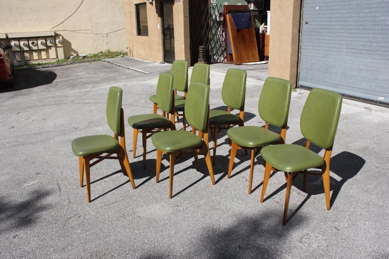 Plastic Classic Set of 8 French Art Deco Solid Mahogany Dining Chairs, circa 1940s For Sale