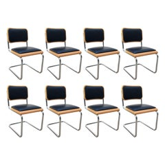 Classic Set of 8 Marcel Breuer Cesca Chairs, Made in Italy