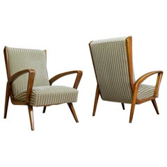Classic set of Chairs in Walnut and Velvet by A.A.Patijn Art Deco, 1950s