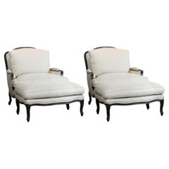 Classic Set of Large French Louis XV Style Bergères with Ottomans