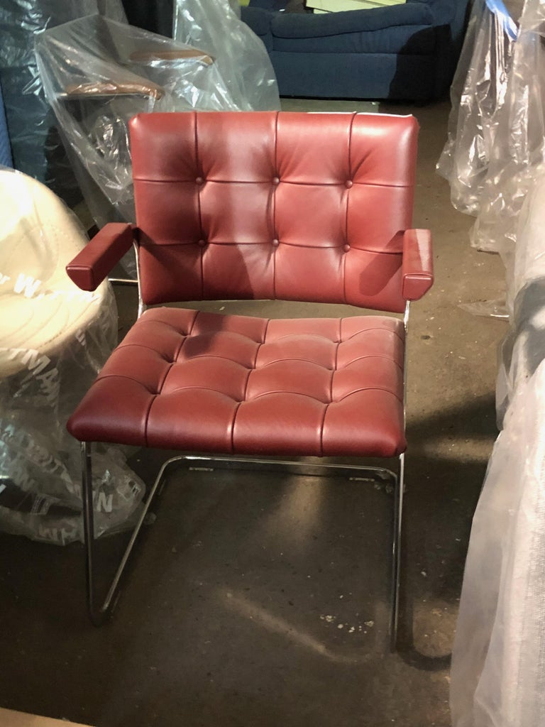 Swiss de Sede Classic Set of Three Haussmann RH 305 Red Leather Cantilever Armchairs For Sale