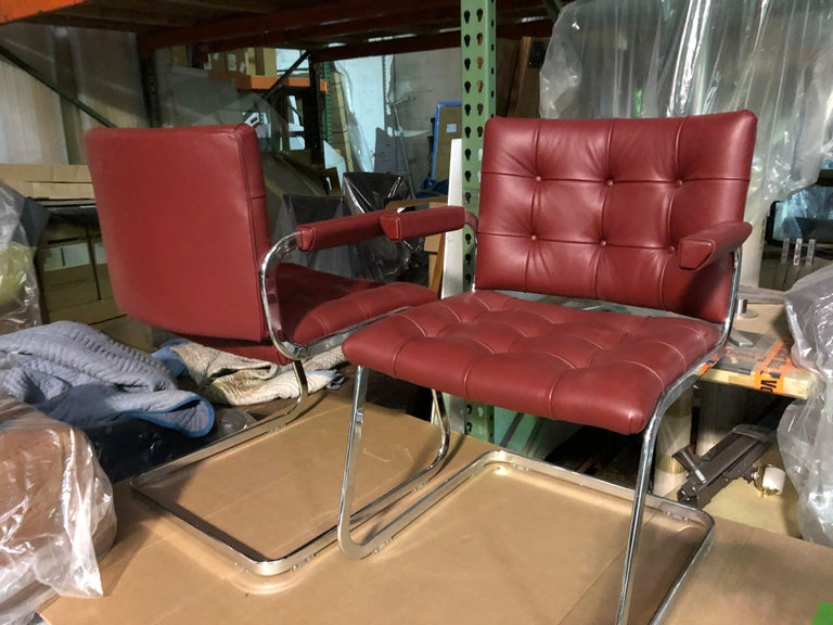 de Sede Classic Set of Three Haussmann RH 305 Red Leather Cantilever Armchairs In Good Condition For Sale In New York, NY