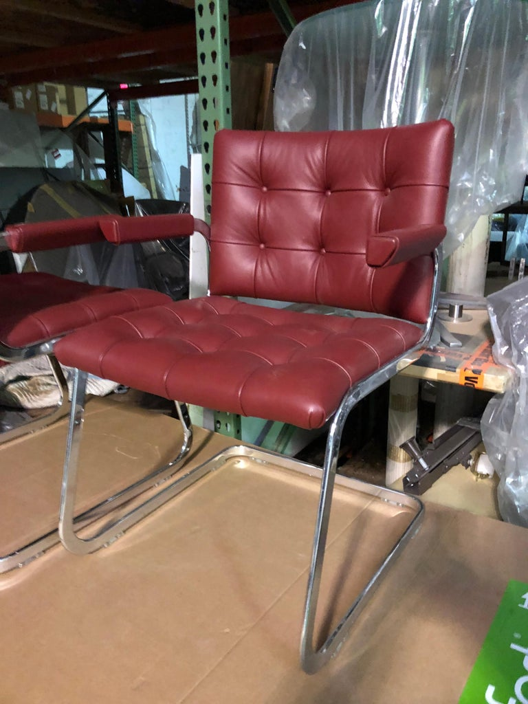 Contemporary de Sede Classic Set of Three Haussmann RH 305 Red Leather Cantilever Armchairs For Sale