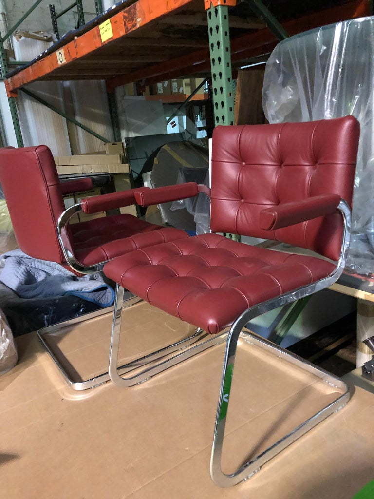 de Sede Classic Set of Three Haussmann RH 305 Red Leather Cantilever Armchairs For Sale 1