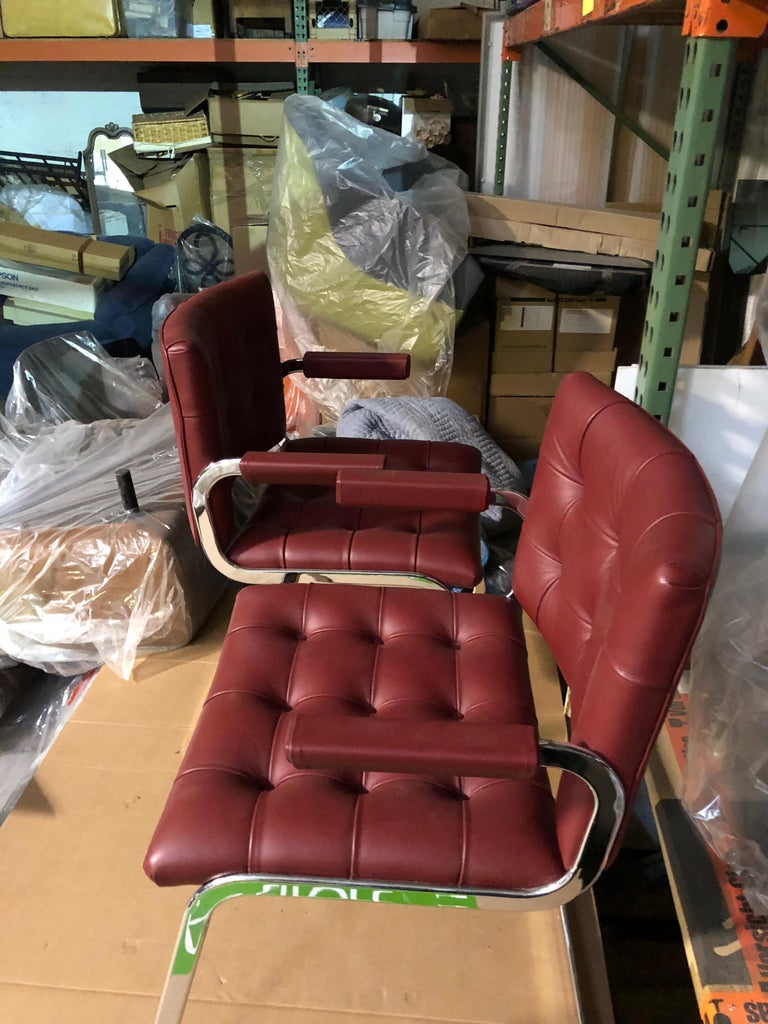 de Sede Classic Set of Three Haussmann RH 305 Red Leather Cantilever Armchairs For Sale 2