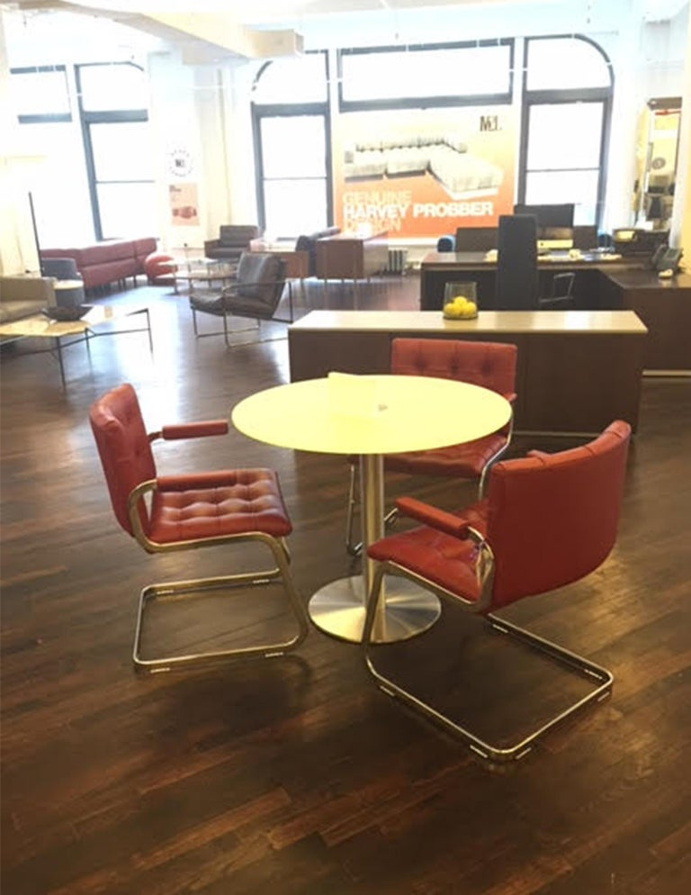 Modern de Sede Classic Set of Three Haussmann RH 305 Red Leather Cantilever Armchairs For Sale