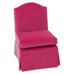 Classic Skirted Slipper Chair in Hot Pink Velvet with Contrast Velvet Back