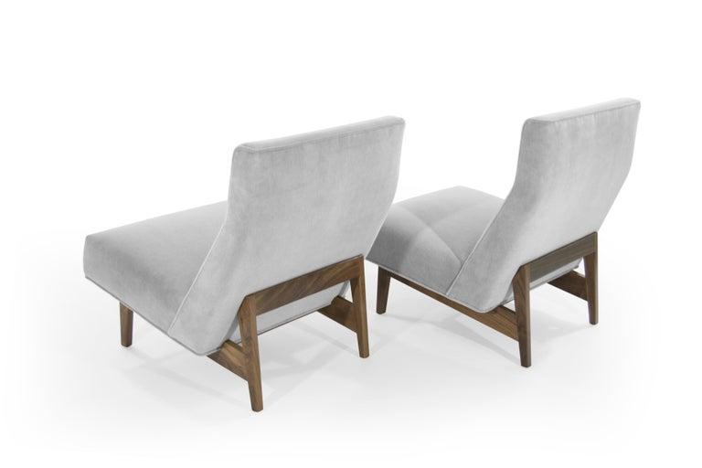 Velvet Classic Slipper Chairs by Jens Risom, circa 1950s For Sale