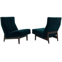 Classic Slipper Chairs by Jens Risom in Teal Mohair, circa 1950s