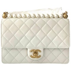 Classic Small Flapbag Pearls Brush Gold White Goat Leather Shoulder Bag