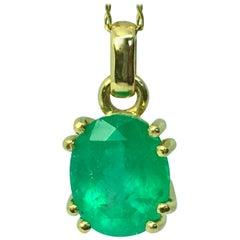 Classic Solitaire Oval Emerald Drop Pendant Necklace 18 Karat