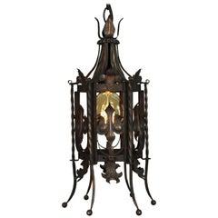 Classic Spanish Revival Iron 1920s Pendant Chandelier