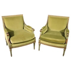 Classic Square Back French Louis XVI Style Green Painted Velvet Bergere Chairs