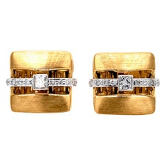 Classic Square Cut Diamond Cufflinks by Dilys' in 18 Karat Yellow Gold