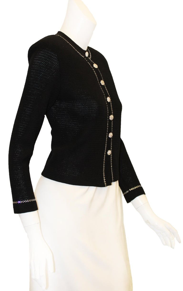 bd9512485 Women s Classic St. John Black Knit Evening Jacket W  Crystal Trim and Crystal  Buttons