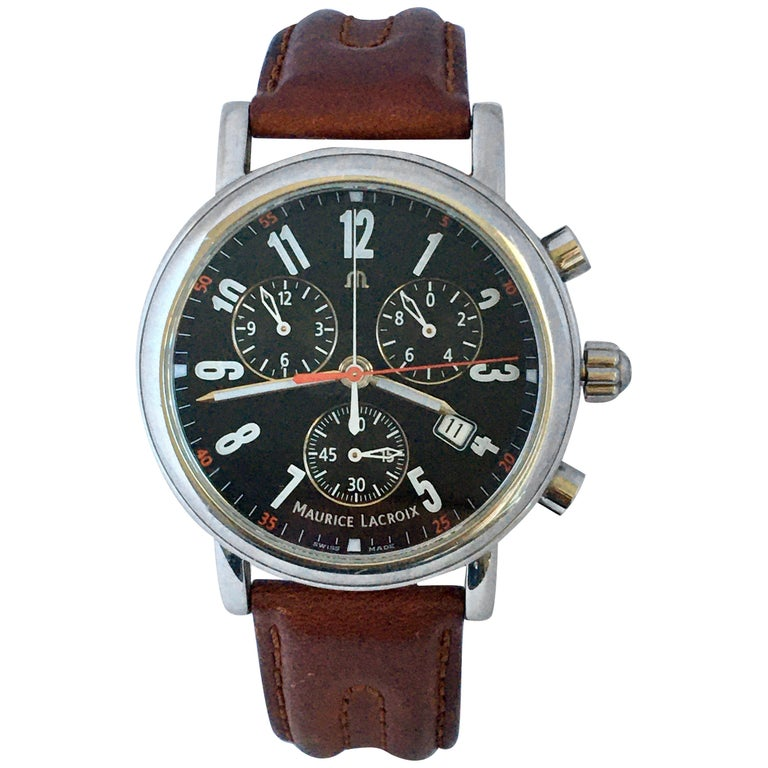 Classic Stainless Steel Maurice Lacroix LC1038 Chronograph Watch For Sale