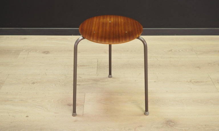 Classic stool of the 1960s-1970s. Danish design. Seat made of mahogany veneer and legs are made of metal. Preserved in good condition - directly for use.  Dimensions: height 44cm, seat diameter 30cm.