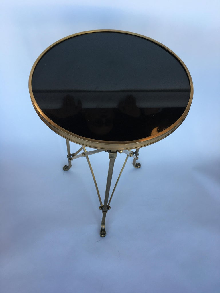 Classic style Gueridon side table with marmol top, with bronze, 1960s.