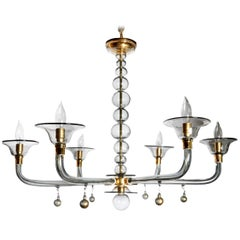 Classic Style, Mid-Century Modern Murano Glass Chandelier by Venini