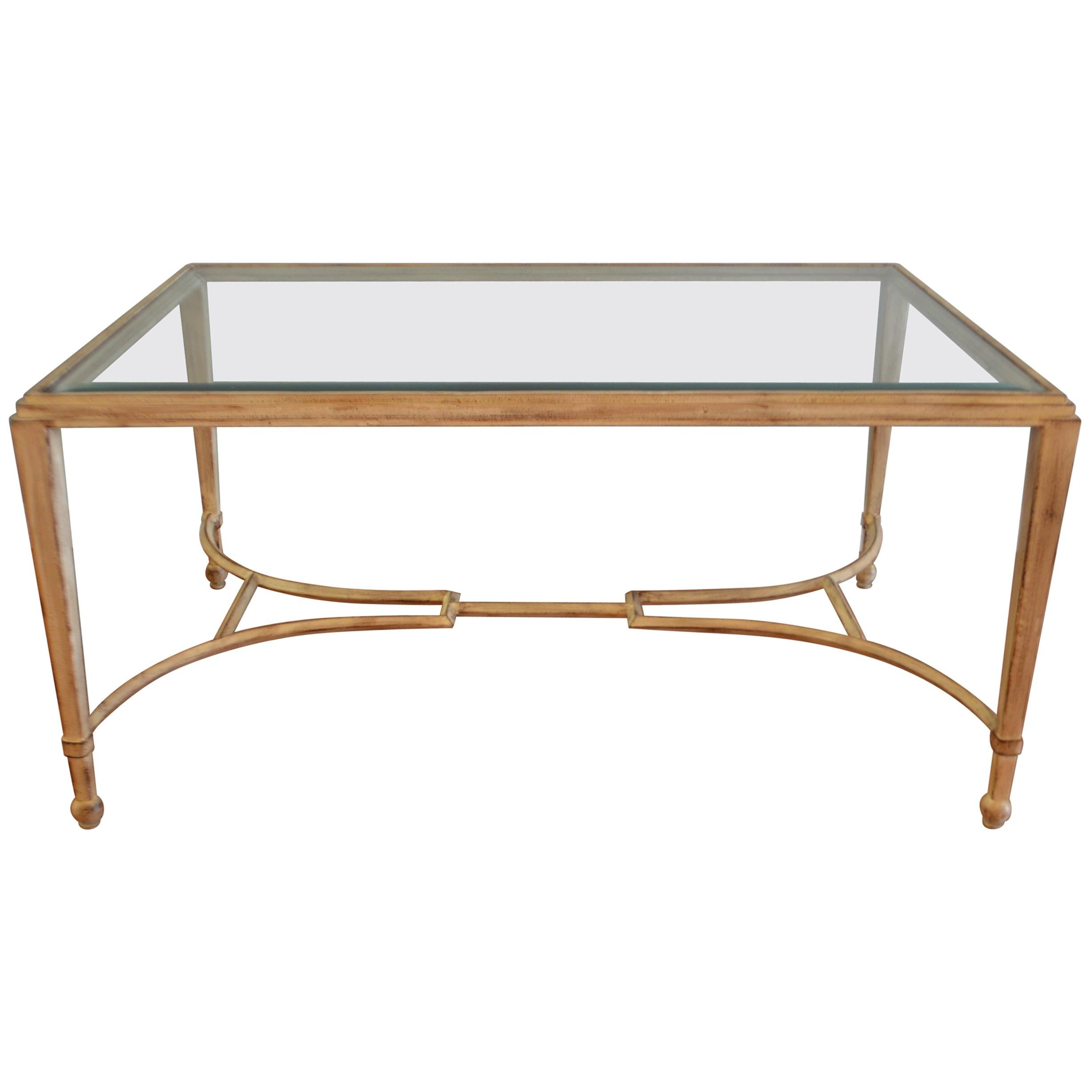 Classic Style, Painted Wrought Iron Coffee Table With Beveled Glass Top