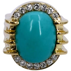 Classic Styled Gold Ring with Turquoise and Diamonds