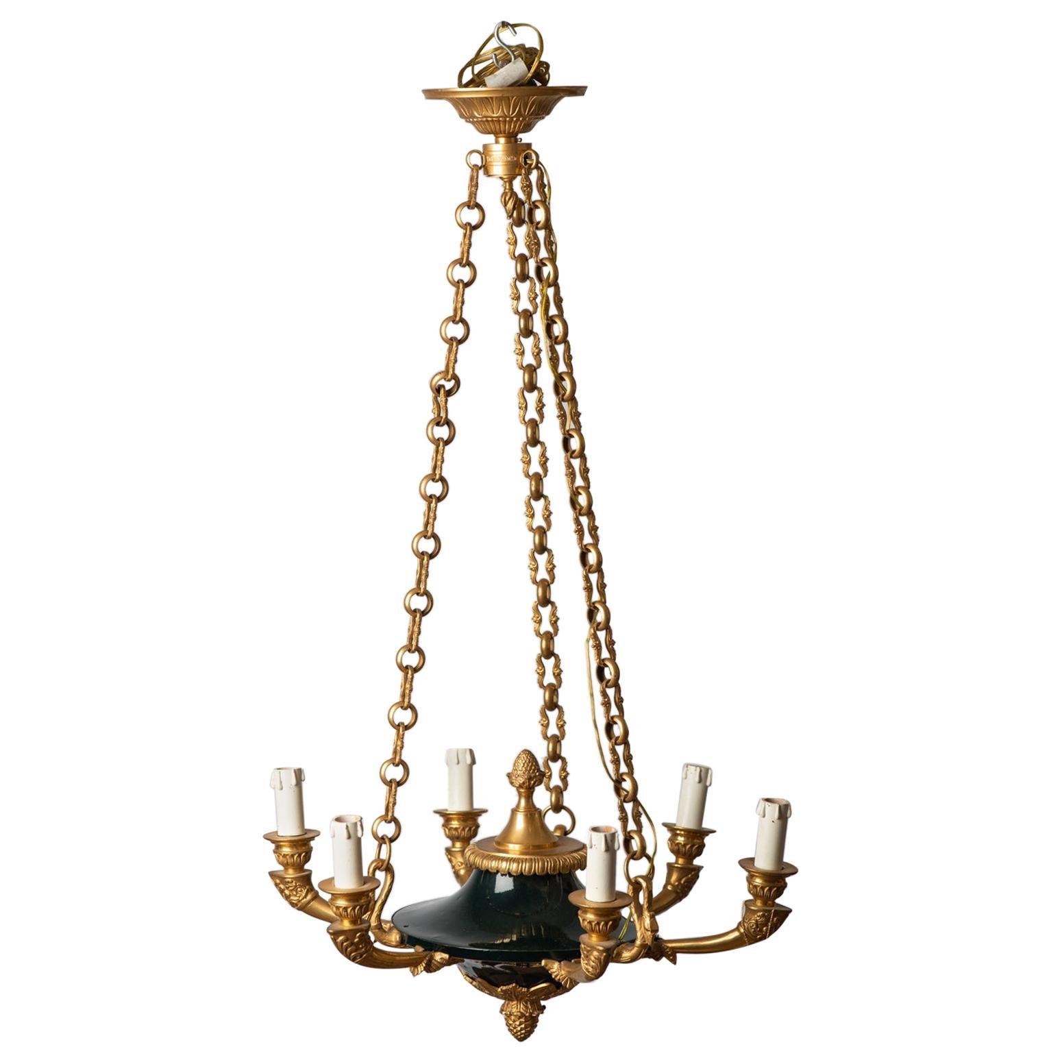 Classic Swan French Empire Gilt Bronze Chandelier