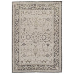 Classic Tabriz Style Ivory Handwoven Rug, 5'2 x 7'5