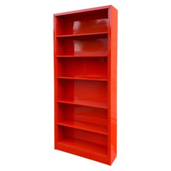 Classic Tall Steel Tanker Bookcase, Custom Refinished in Safety Orange