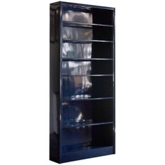 Classic Tall Steel Tanker Bookcase Custom Refinished in Midnight Blue