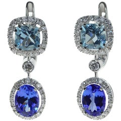 Classic Tanzanite Aquamarine Diamond 18 Karat White Gold Earrings