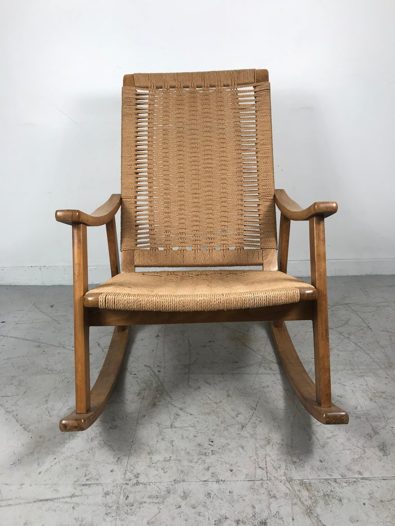 Scandinavian Modern Classic Teak and Rope Rocker in the Style of Hans Wegner For Sale