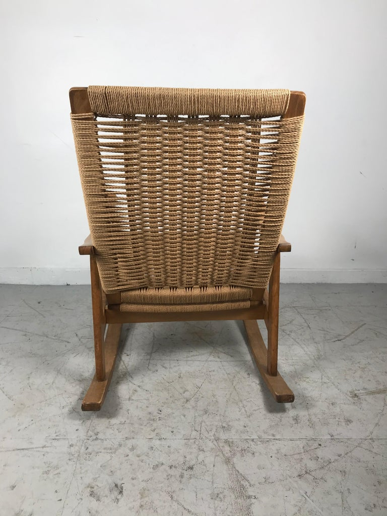 Macedonian Classic Teak and Rope Rocker in the Style of Hans Wegner For Sale