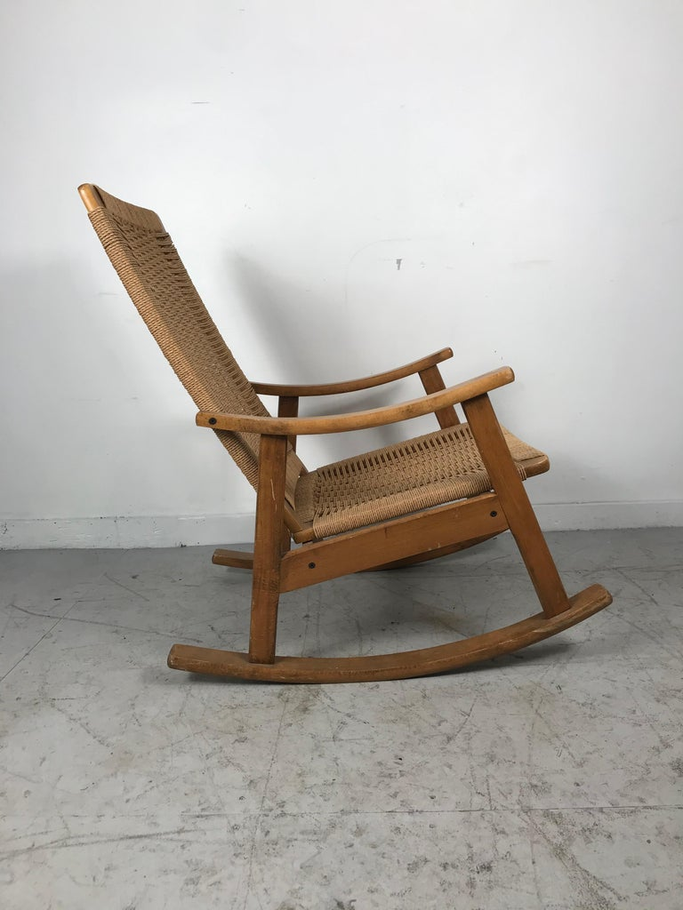 Classic Teak and Rope Rocker in the Style of Hans Wegner For Sale 2
