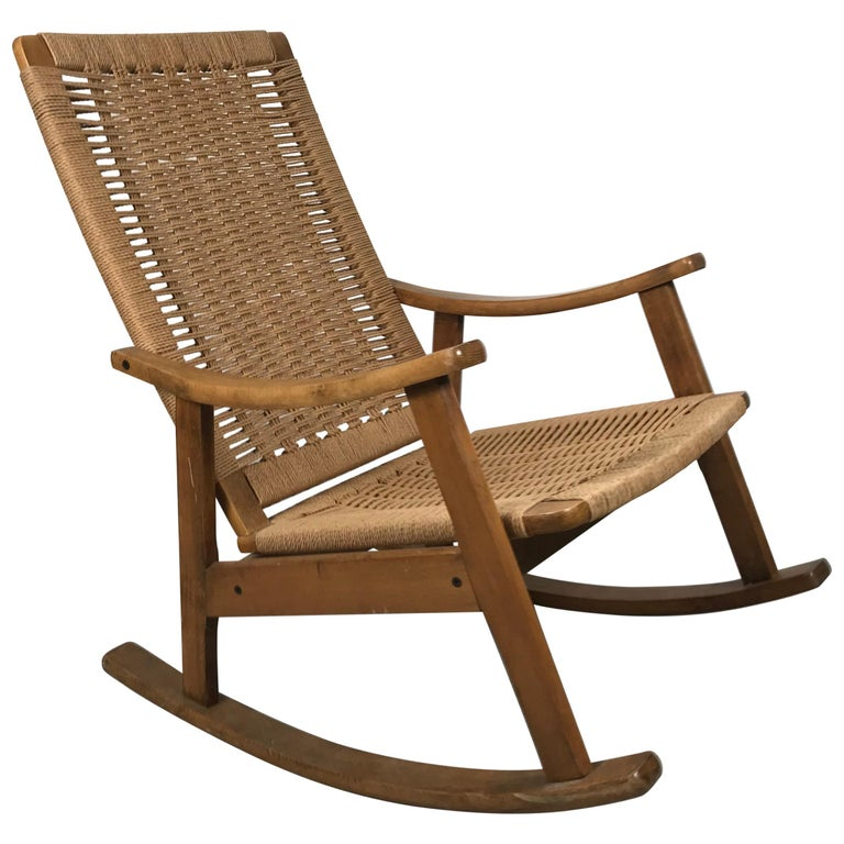 Classic Teak and Rope Rocker in the Style of Hans Wegner For Sale
