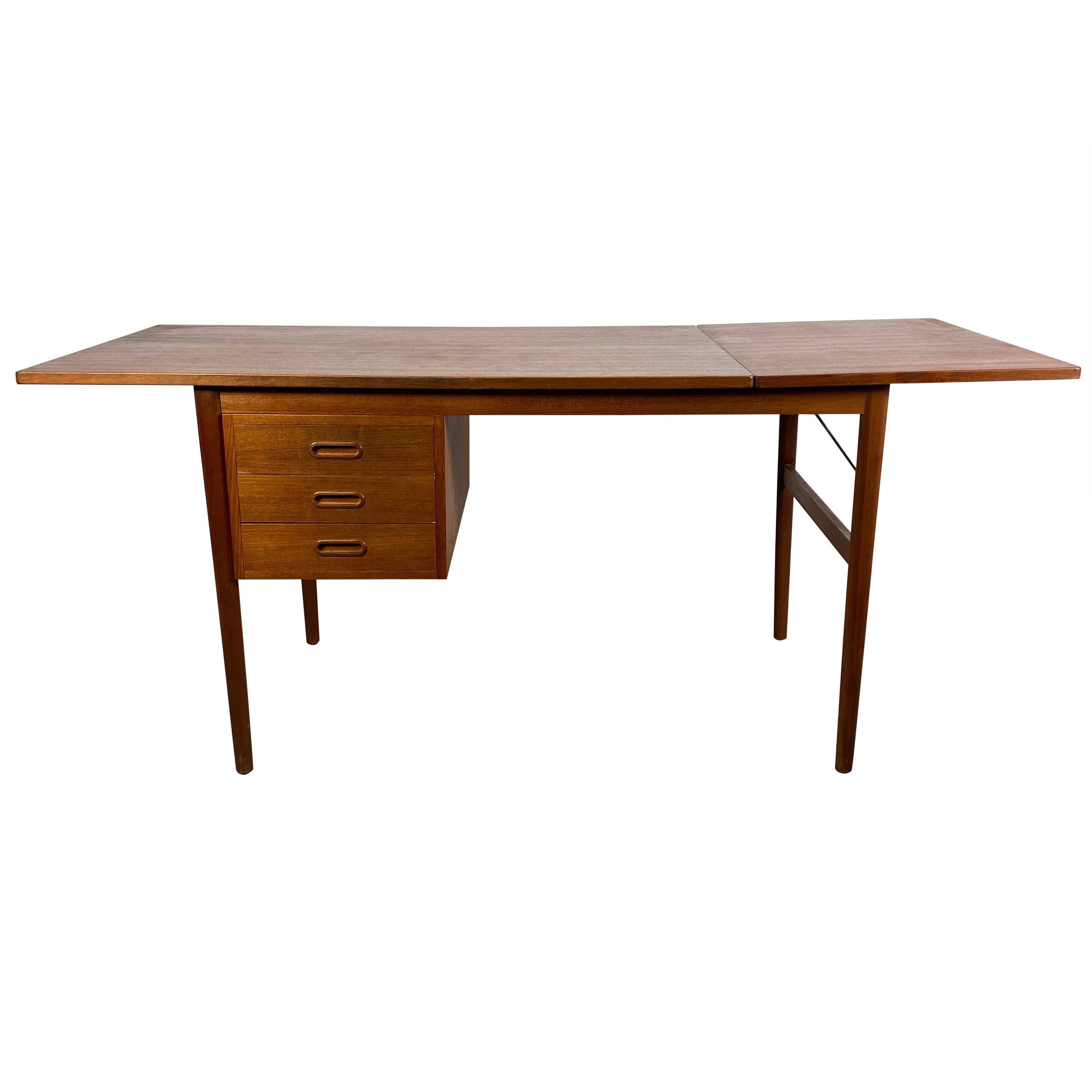 Classic Teak Drop Leaf Desk, Denmark, Attributed to Arne Vodder