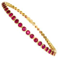 "Classic ""Tennis"" Bracelet in 19.2 Karat Yellow Gold and Rubis"