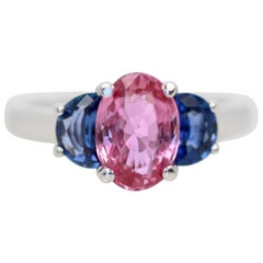 Classic Three-Stone Ring in Pink and Blue Sapphire's