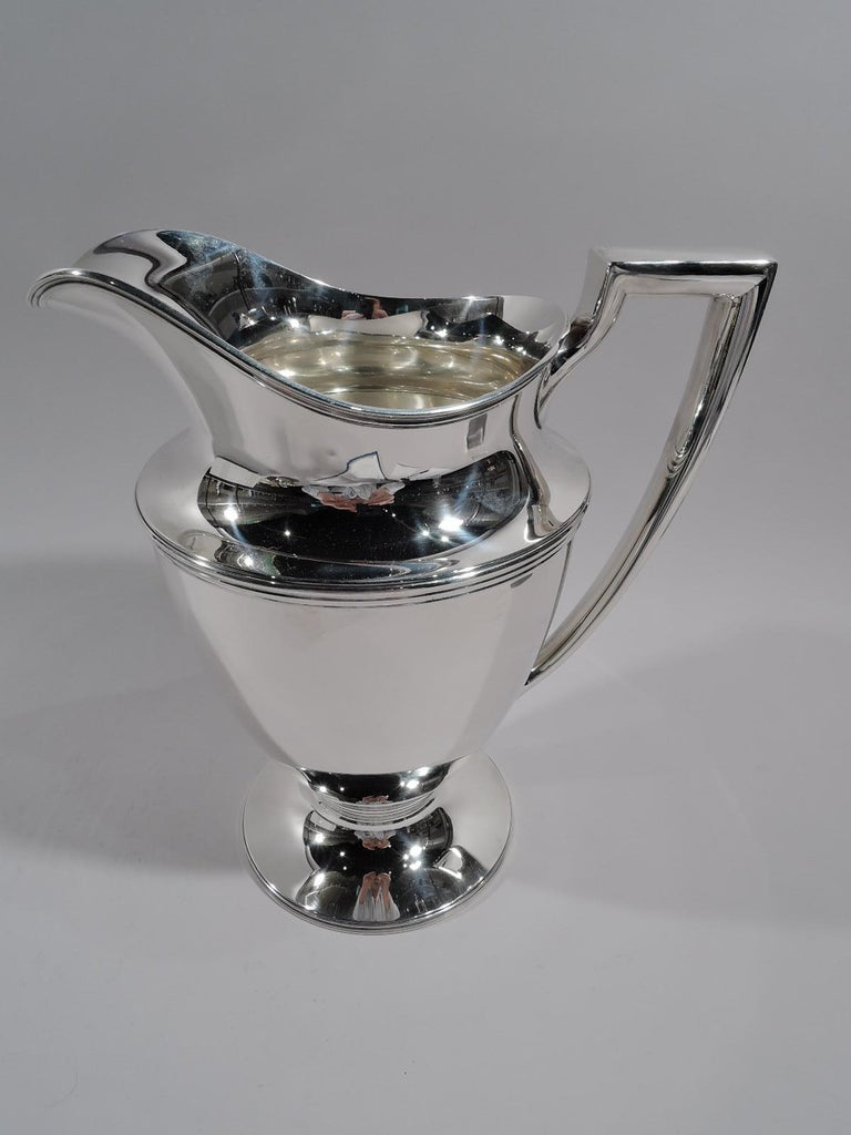 Art Deco Classic Tiffany American Sterling Silver Water Pitcher For Sale