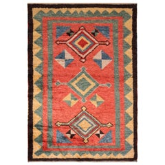 Classic Tulu Style Rug Red Green Medallion Tribal Pattern by Rug & Kilim