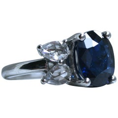 Classic Unheated GIA Sapphire Diamond Ring in Platinum, 5.40 Carat