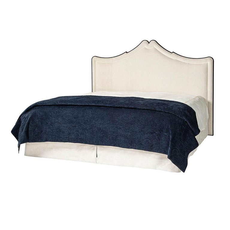 Beautifully detailed, perfectly styled, this Classic upholstered bed is the perfect addition to any bedroom seeking traditional form with modern accouterments for comfort and quality.  This bed made of a solid beech frame with dark polished wood