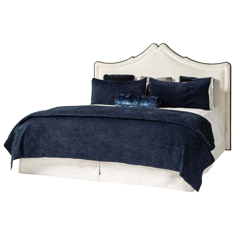 Classic Upholstered King Size Bed For Sale
