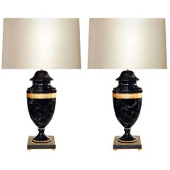 Classic Urn Style Dark Smoky Rock Crystal Lamps by Phoenix